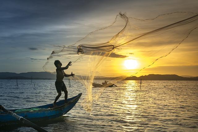 Łowienie ryb przy zachodzie słońca na sieć